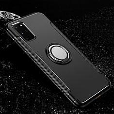 Funda Bumper Silicona y Plastico Mate Carcasa con Magnetico Anillo de dedo Soporte R03 para Samsung Galaxy S20 Plus 5G Negro