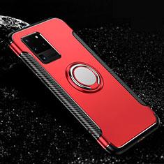 Funda Bumper Silicona y Plastico Mate Carcasa con Magnetico Anillo de dedo Soporte R03 para Samsung Galaxy S20 Ultra 5G Rojo