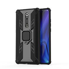 Funda Bumper Silicona y Plastico Mate Carcasa con Magnetico Anillo de dedo Soporte R03 para Xiaomi Mi 9T Pro Negro