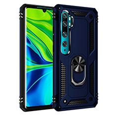 Funda Bumper Silicona y Plastico Mate Carcasa con Magnetico Anillo de dedo Soporte R03 para Xiaomi Mi Note 10 Azul