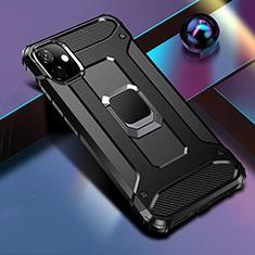 Funda Bumper Silicona y Plastico Mate Carcasa con Magnetico Anillo de dedo Soporte R04 para Apple iPhone 11 Negro