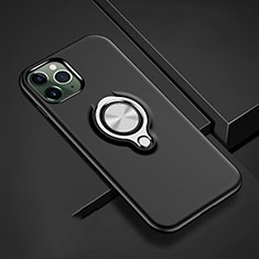 Funda Bumper Silicona y Plastico Mate Carcasa con Magnetico Anillo de dedo Soporte R04 para Apple iPhone 11 Pro Max Negro