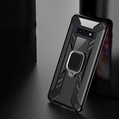 Funda Bumper Silicona y Plastico Mate Carcasa con Magnetico Anillo de dedo Soporte R04 para Samsung Galaxy S10 Negro