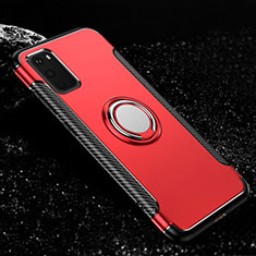 Funda Bumper Silicona y Plastico Mate Carcasa con Magnetico Anillo de dedo Soporte R04 para Samsung Galaxy S20 5G Rojo