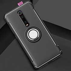 Funda Bumper Silicona y Plastico Mate Carcasa con Magnetico Anillo de dedo Soporte R04 para Xiaomi Mi 9T Pro Negro