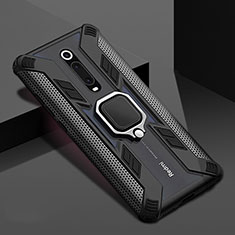Funda Bumper Silicona y Plastico Mate Carcasa con Magnetico Anillo de dedo Soporte R05 para Xiaomi Mi 9T Pro Negro