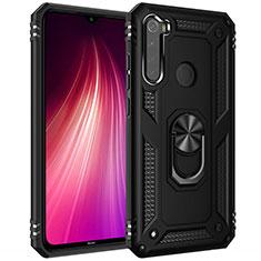 Funda Bumper Silicona y Plastico Mate Carcasa con Magnetico Anillo de dedo Soporte R05 para Xiaomi Redmi Note 8T Negro