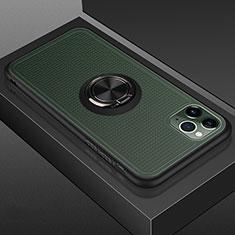 Funda Bumper Silicona y Plastico Mate Carcasa con Magnetico Anillo de dedo Soporte R07 para Apple iPhone 11 Pro Max Negro
