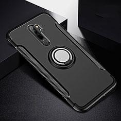 Funda Bumper Silicona y Plastico Mate Carcasa con Magnetico Anillo de dedo Soporte R08 para Xiaomi Redmi Note 8 Pro Negro