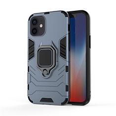 Funda Bumper Silicona y Plastico Mate Carcasa con Magnetico Anillo de dedo Soporte S01 para Apple iPhone 12 Mini Azul