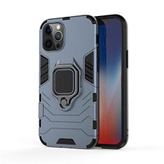 Funda Bumper Silicona y Plastico Mate Carcasa con Magnetico Anillo de dedo Soporte S01 para Apple iPhone 12 Pro Max Azul