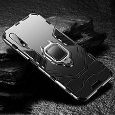 Funda Bumper Silicona y Plastico Mate Carcasa con Magnetico Anillo de dedo Soporte S01 para Huawei Honor 9X Negro