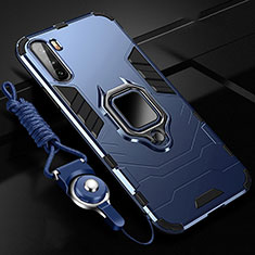 Funda Bumper Silicona y Plastico Mate Carcasa con Magnetico Anillo de dedo Soporte S01 para Huawei Mate 40 Lite 5G Azul