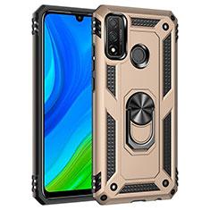 Funda Bumper Silicona y Plastico Mate Carcasa con Magnetico Anillo de dedo Soporte S01 para Huawei P Smart (2020) Oro