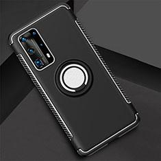 Funda Bumper Silicona y Plastico Mate Carcasa con Magnetico Anillo de dedo Soporte S01 para Huawei P40 Pro+ Plus Negro