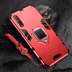 Funda Bumper Silicona y Plastico Mate Carcasa con Magnetico Anillo de dedo Soporte S01 para Huawei Y8p Rojo
