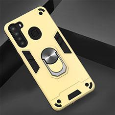 Funda Bumper Silicona y Plastico Mate Carcasa con Magnetico Anillo de dedo Soporte S01 para Samsung Galaxy A21 Oro