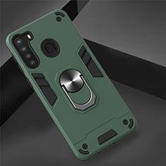 Funda Bumper Silicona y Plastico Mate Carcasa con Magnetico Anillo de dedo Soporte S01 para Samsung Galaxy A21 Verde