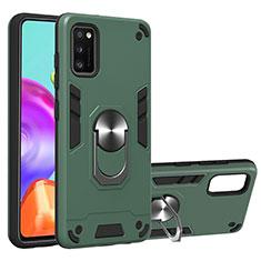 Funda Bumper Silicona y Plastico Mate Carcasa con Magnetico Anillo de dedo Soporte S01 para Samsung Galaxy A41 Verde