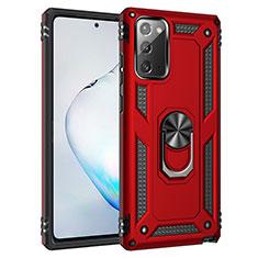 Funda Bumper Silicona y Plastico Mate Carcasa con Magnetico Anillo de dedo Soporte S01 para Samsung Galaxy Note 20 5G Rojo