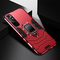Funda Bumper Silicona y Plastico Mate Carcasa con Magnetico Anillo de dedo Soporte S01 para Xiaomi Mi 10 Ultra Rojo