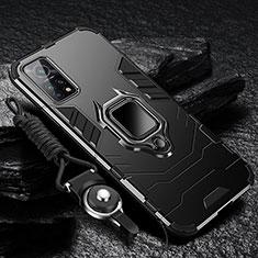 Funda Bumper Silicona y Plastico Mate Carcasa con Magnetico Anillo de dedo Soporte S01 para Xiaomi Mi 10T 5G Negro