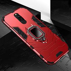 Funda Bumper Silicona y Plastico Mate Carcasa con Magnetico Anillo de dedo Soporte S01 para Xiaomi Redmi 8 Rojo