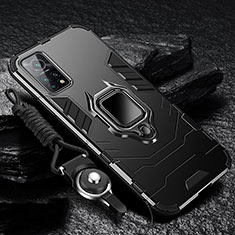 Funda Bumper Silicona y Plastico Mate Carcasa con Magnetico Anillo de dedo Soporte S01 para Xiaomi Redmi K30S 5G Negro
