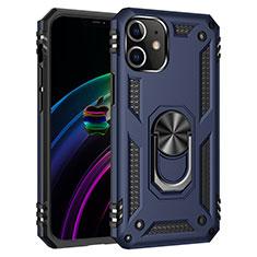 Funda Bumper Silicona y Plastico Mate Carcasa con Magnetico Anillo de dedo Soporte S02 para Apple iPhone 12 Mini Azul