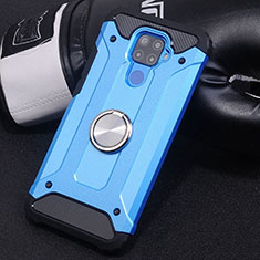 Funda Bumper Silicona y Plastico Mate Carcasa con Magnetico Anillo de dedo Soporte S02 para Huawei Mate 30 Lite Azul Cielo