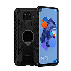 Funda Bumper Silicona y Plastico Mate Carcasa con Magnetico Anillo de dedo Soporte S03 para Huawei Mate 30 Lite Negro