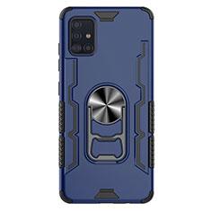 Funda Bumper Silicona y Plastico Mate Carcasa con Magnetico Anillo de dedo Soporte S03 para Samsung Galaxy A51 5G Azul