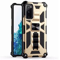 Funda Bumper Silicona y Plastico Mate Carcasa con Magnetico Anillo de dedo Soporte S03 para Samsung Galaxy S20 FE 5G Oro