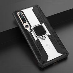 Funda Bumper Silicona y Plastico Mate Carcasa con Magnetico Anillo de dedo Soporte S03 para Xiaomi Mi 10 Negro