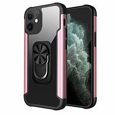 Funda Bumper Silicona y Plastico Mate Carcasa con Magnetico Anillo de dedo Soporte S04 para Apple iPhone 12 Mini Oro Rosa