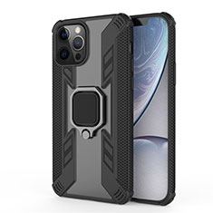 Funda Bumper Silicona y Plastico Mate Carcasa con Magnetico Anillo de dedo Soporte S04 para Apple iPhone 12 Pro Max Negro