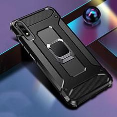 Funda Bumper Silicona y Plastico Mate Carcasa con Magnetico Anillo de dedo Soporte S04 para Huawei Honor 9X Negro