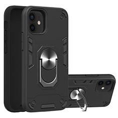 Funda Bumper Silicona y Plastico Mate Carcasa con Magnetico Anillo de dedo Soporte S05 para Apple iPhone 12 Mini Negro