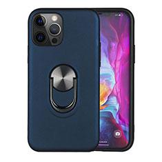 Funda Bumper Silicona y Plastico Mate Carcasa con Magnetico Anillo de dedo Soporte S06 para Apple iPhone 12 Pro Max Azul