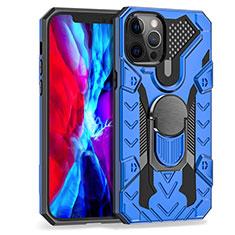 Funda Bumper Silicona y Plastico Mate Carcasa con Magnetico Anillo de dedo Soporte S07 para Apple iPhone 12 Pro Max Azul