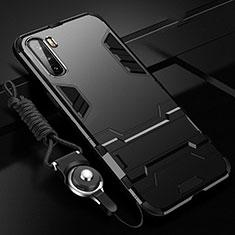 Funda Bumper Silicona y Plastico Mate Carcasa con Magnetico Soporte A01 para Huawei Mate 40 Lite 5G Negro