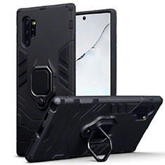 Funda Bumper Silicona y Plastico Mate Carcasa con Magnetico Soporte A03 para Samsung Galaxy Note 10 Plus 5G Negro