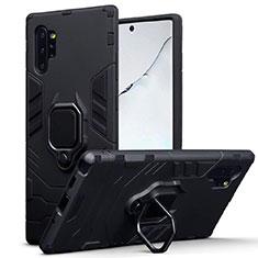 Funda Bumper Silicona y Plastico Mate Carcasa con Magnetico Soporte A03 para Samsung Galaxy Note 10 Plus Negro