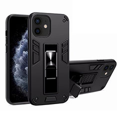 Funda Bumper Silicona y Plastico Mate Carcasa con Magnetico Soporte H01 para Apple iPhone 12 Mini Negro