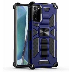 Funda Bumper Silicona y Plastico Mate Carcasa con Magnetico Soporte H01 para Samsung Galaxy Note 20 5G Azul