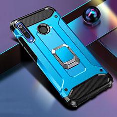 Funda Bumper Silicona y Plastico Mate Carcasa con Magnetico Soporte K01 para Huawei Honor 20 Lite Azul