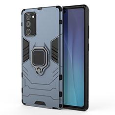 Funda Bumper Silicona y Plastico Mate Carcasa con Magnetico Soporte N01 para Samsung Galaxy Note 20 5G Azul