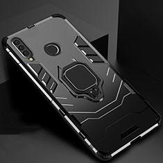Funda Bumper Silicona y Plastico Mate Carcasa con Magnetico Soporte para Huawei Honor 20 Lite Negro
