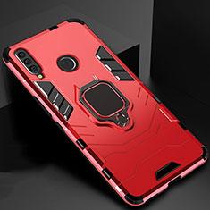 Funda Bumper Silicona y Plastico Mate Carcasa con Magnetico Soporte para Huawei Honor 20 Lite Rojo