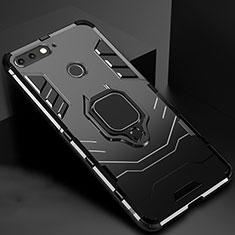 Funda Bumper Silicona y Plastico Mate Carcasa con Magnetico Soporte para Huawei Honor 7A Negro
